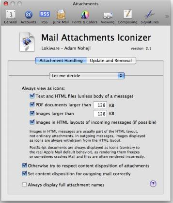 Mac Mail: Встроенные Вложения?