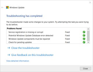 Windows update troubleshooter output